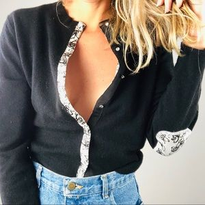 Anthropologie Black Reversible Cardigan Sweater L